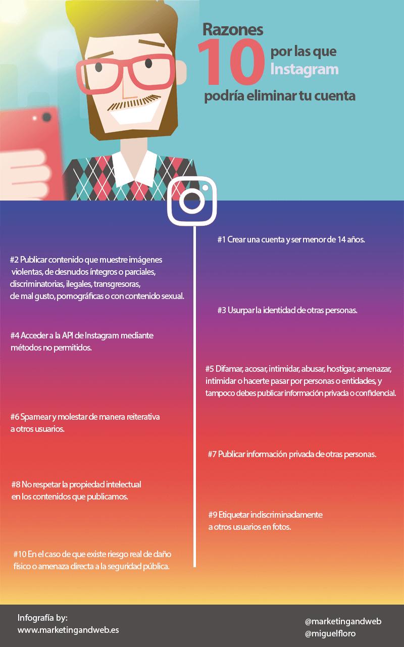 reasons instagram delete account