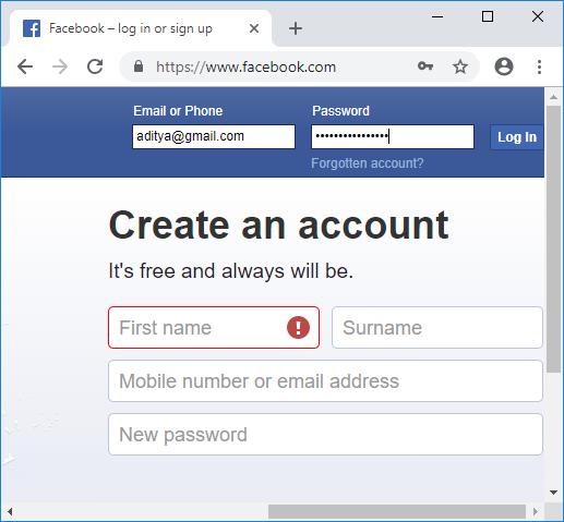 Navigieren Sie zu Facebook und melden Sie sich mit Ihren Anmeldeinformationen an. 7088298