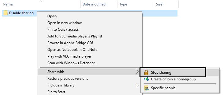 Deaktivieren Sie die Freigabe, um den Ordner-in-Use-Fehler-7380827 zu reparieren