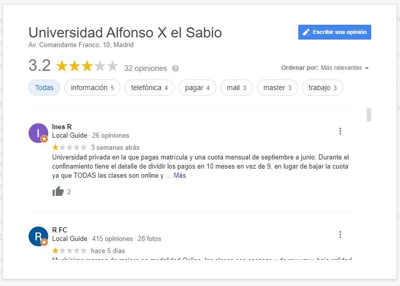 Universität-Alfonso-X-El-Sabio-Google-My-Business